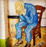 """Pablo Camacho, """"Reinterpretación del Anciano con pena de Van Gogh en el siglo XXI"""". Baños de 2 Spaghi Budapest, Hungría (2014). Fuente: Intsagram (@Pabloblublu)."""